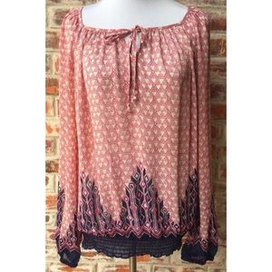 Lucky Brand Sheer Geometric Blouse Peasant Top M